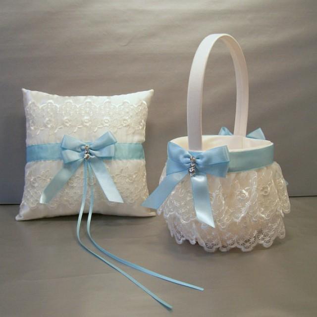 light blue wedding bridal flower girl basket and ring bearer pillow set on ivory or white