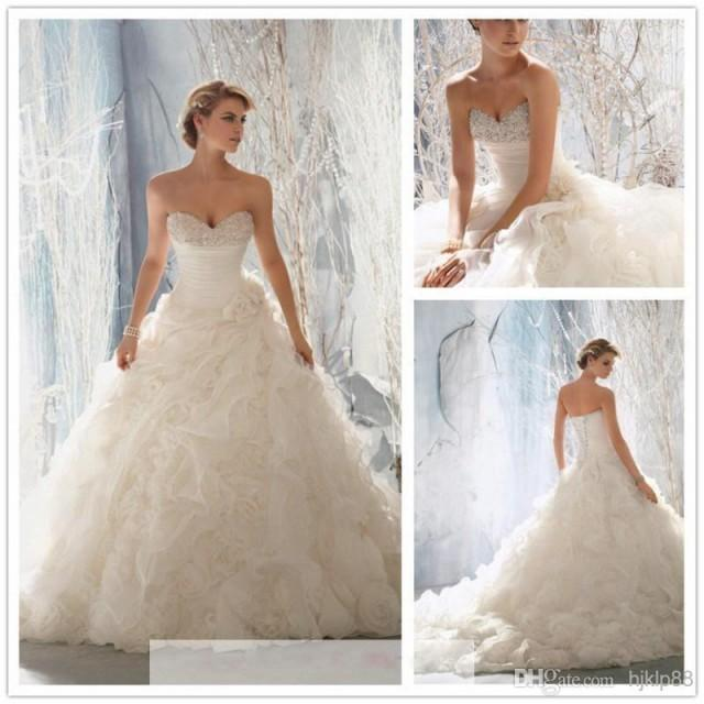 2014 new arrival strapless ruffles wedding dresses beaded for Lace wedding dress with pearls