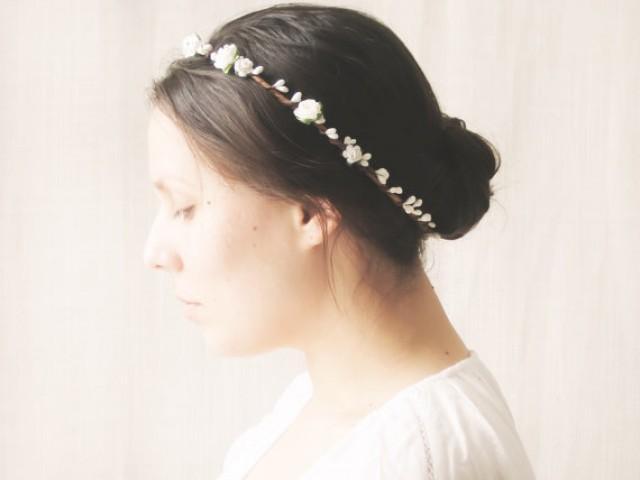 Flower Crown Bridal Halo Rustic Wedding Hair Accessories Circlet Floral Headband - MAYA ...