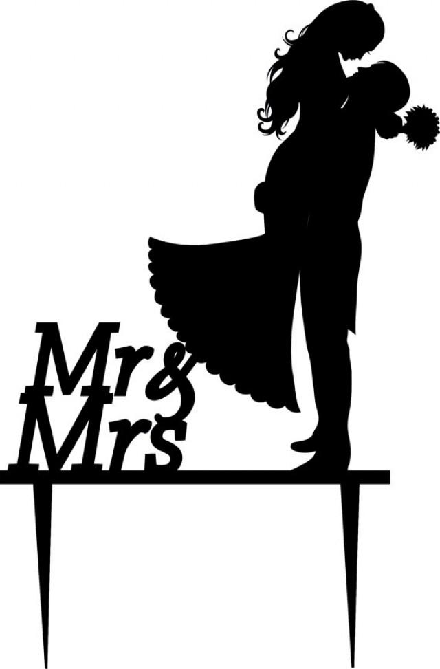Wedding Cake Topper Silhouette Groom And Bride, Acrylic ...