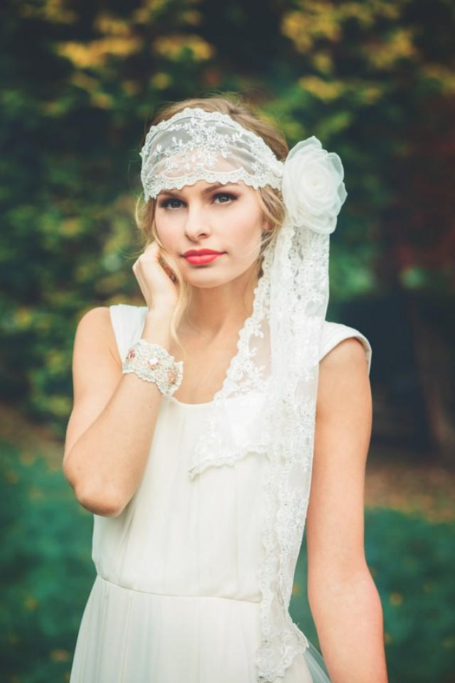 Off White Boho Bridal Lace Headwrap Or Headband With Silk Flower Accessory