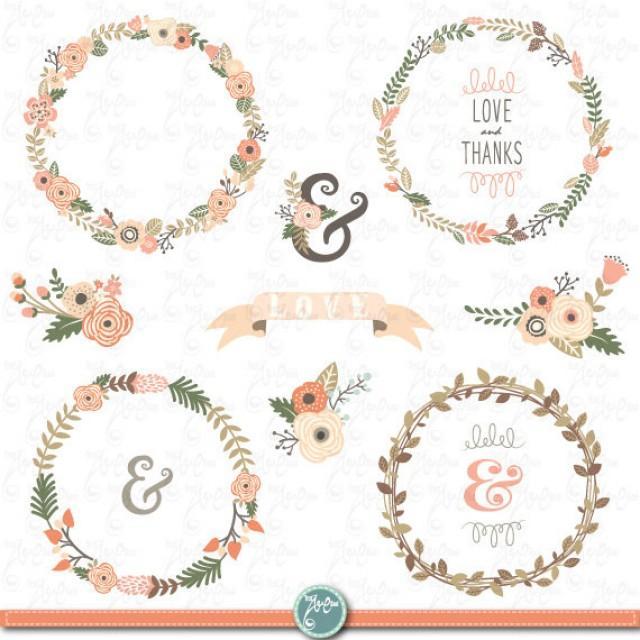 Wreath Clip Art WEDDING FLOWER WREATH ClipartVintage Flowers Wreath Flower Frames Wedding