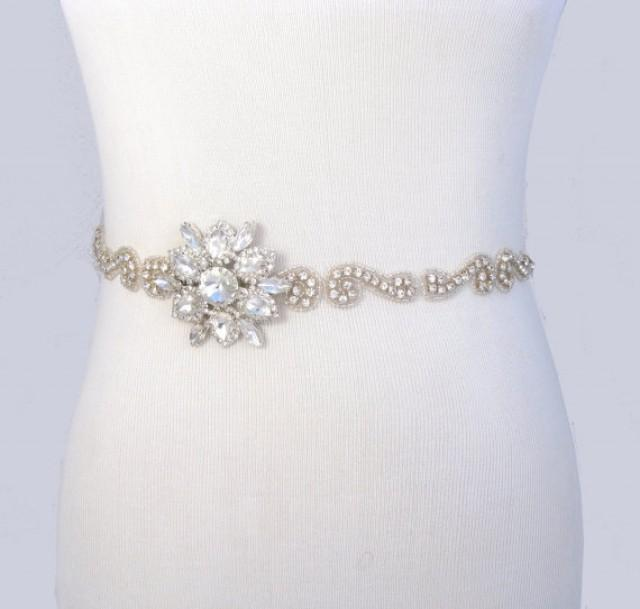 Crystal satin sash rhinestone bridal belt jeweled for Rhinestone sashes for wedding dresses