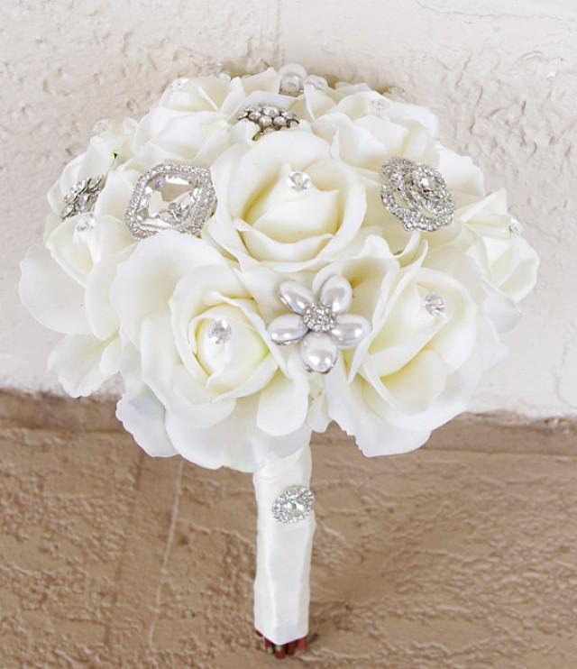 Silk Brooch Wedding Bouquet - Natural Touch Roses And Flower Brooch ...