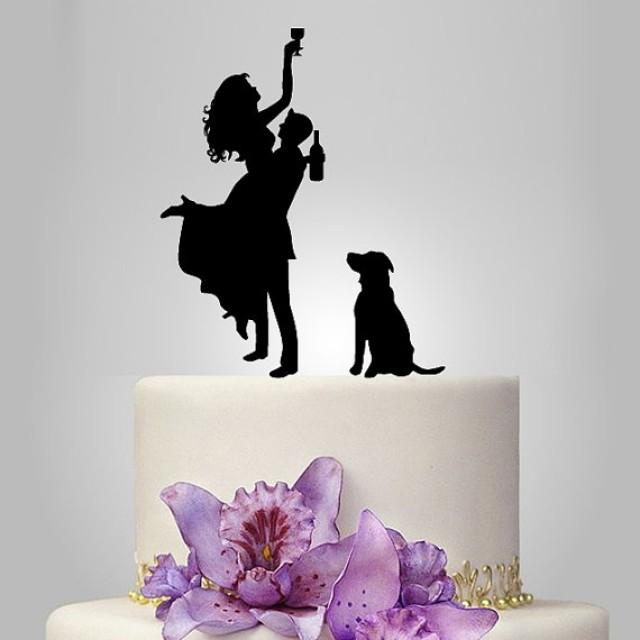 wedding photo - wedding Cake Topper Silhouette, dog Silhouette wedding cake topper,  drunk bride wedding Cake Topper, mr and mrs wedding cake topper, funny