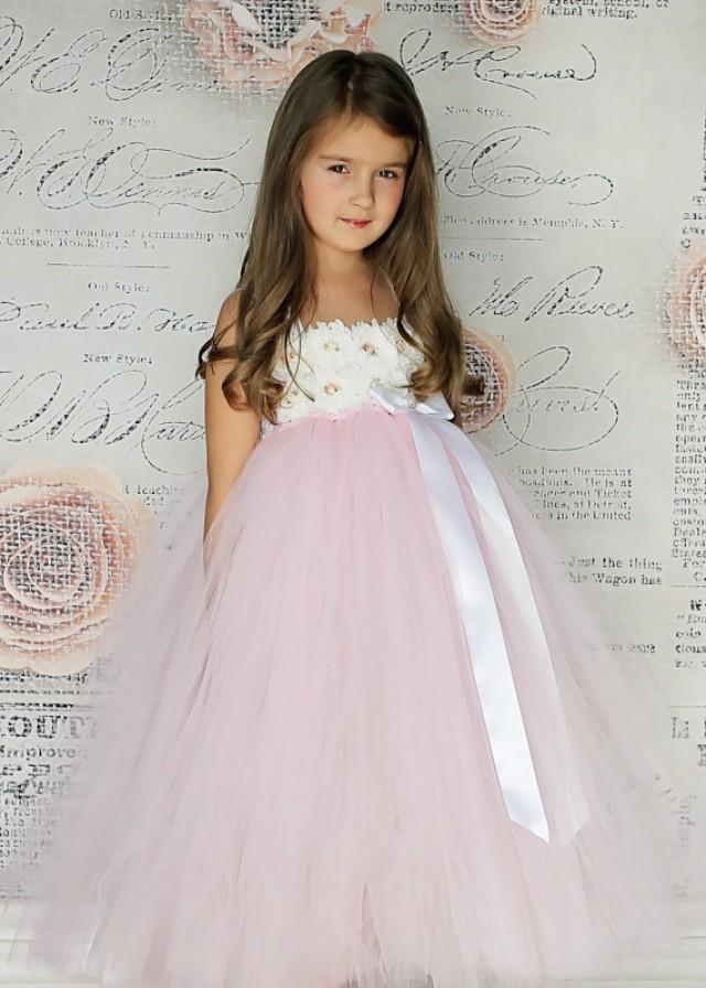 Light Pink Tulle Skirt White Shabby Chic Flower Girl Dress Vintage ...
