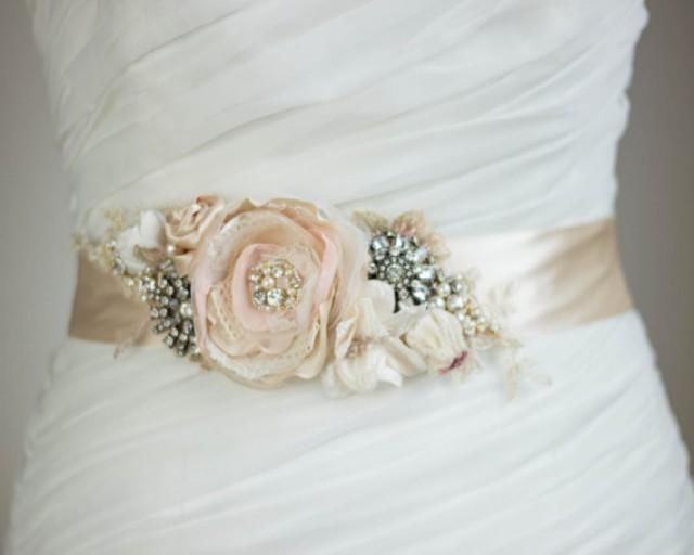 Bridal sash bridal belt blush sash floral sash floral belt for Wedding dress belt sash