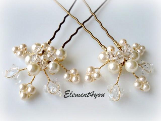 Bridal Hair Piece Wedding Pins Leaves Vines Ivory Gold Pearl Accessories White Pearls Crystal 2219198 Weddbook