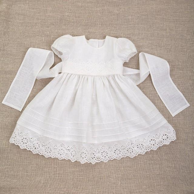Baby Girl Baptism Linen Dress Heirloom Gown Special