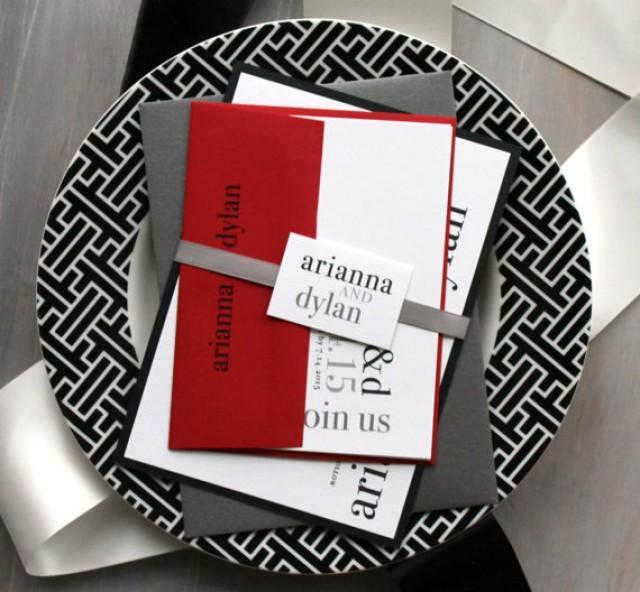modern wedding invitations wedding invitations red wedding invitations black and white invitations urban elegance deposit 2219245 weddbook