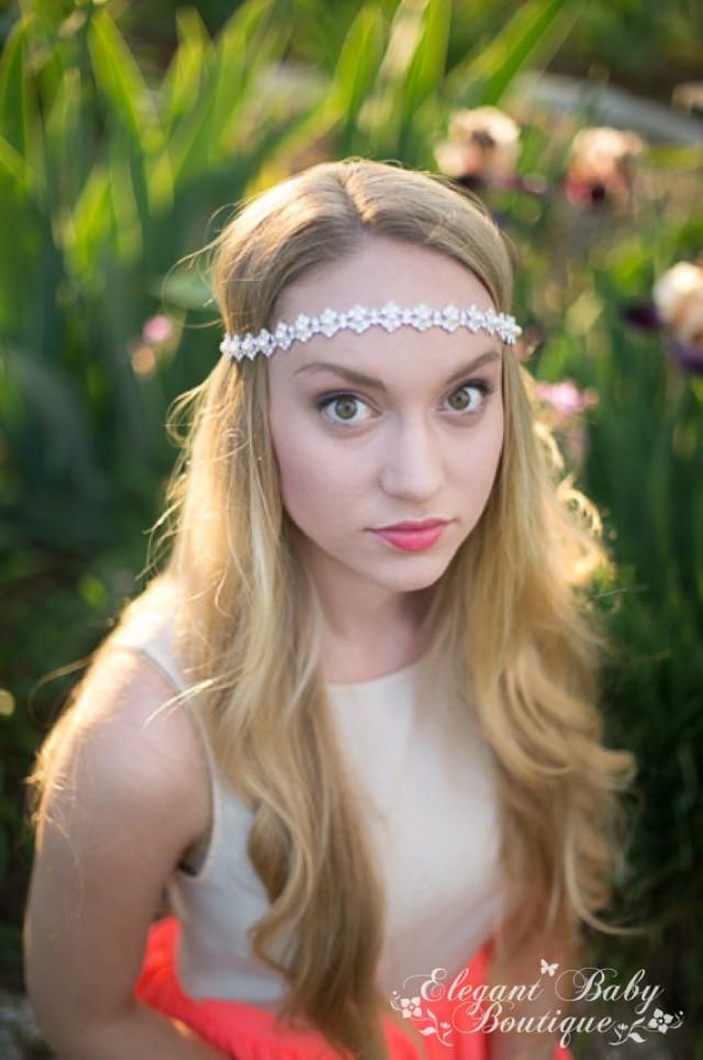 bella rosa pearl and rhinestone tie back bridal headband prom headband wedding headband. Black Bedroom Furniture Sets. Home Design Ideas