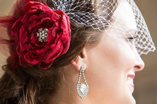 Bridal Flowers In Hair With Veil : Scarlet red bridal hair accessories flower