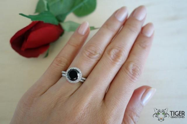 Black Diamond Halo Ring Photo Al Weddings Center. Huge Halo 2 Carat ...