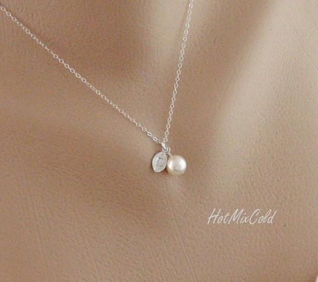 Silver Monogram Pendant Necklace Pearl Initial Leaf