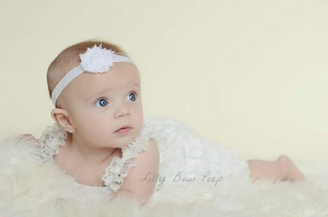 Baptism Outfit Lace Petti Romper & Flower Headband SET