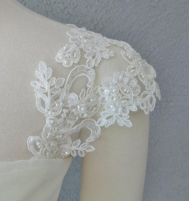 Detachable Ivory Beaded Lace Straps To Add To Your Wedding