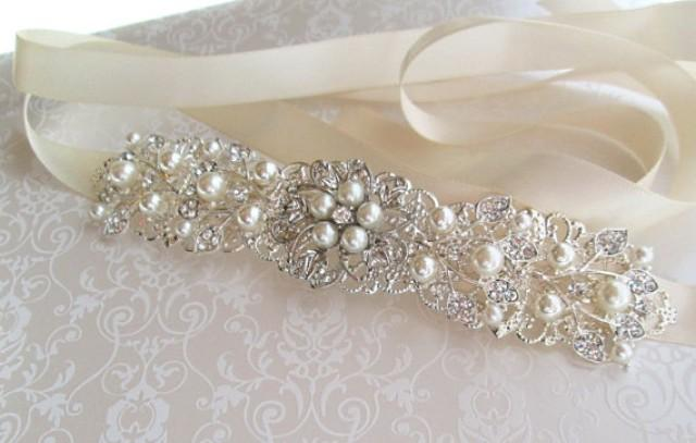 Silver Wedding Sash Bridal Belt Rhinestone Wedding Dress