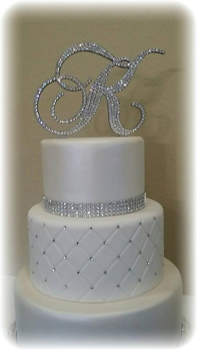 Monogram Wedding Cake Topper Crystal Initial Any Letter A ...