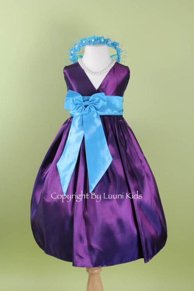 flower girl dress purple v dress with turquoise bow sash