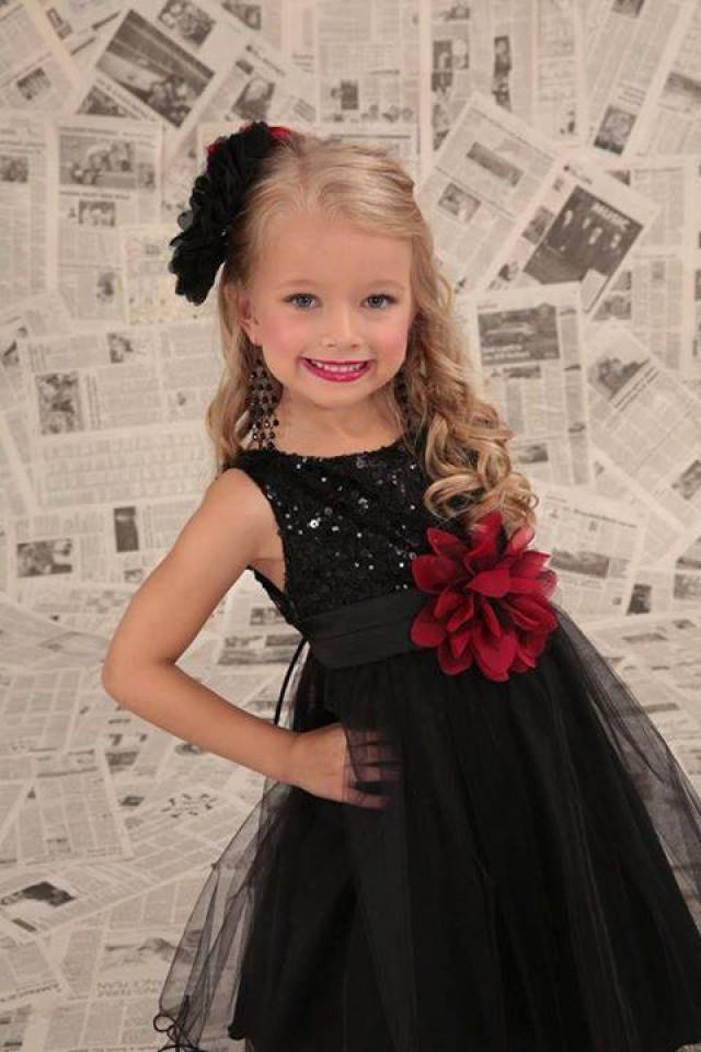 Flower Girl Dress , Black Sequin Flower Girl Dress , Black