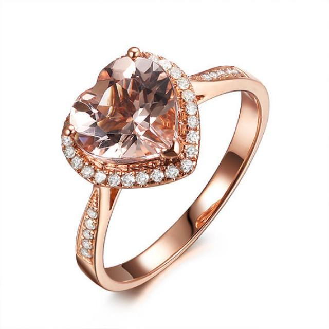 Heart Shape 8mm VS Pink Morganite Engagement Ring SI Diamond Halo Morganite R