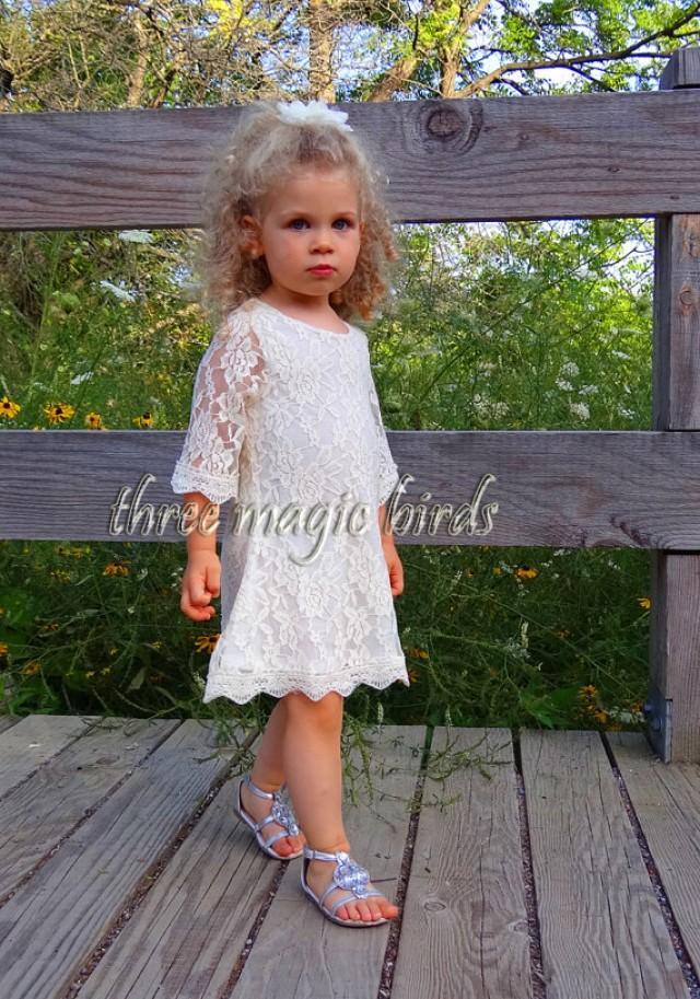 Flower girl dress rustic fall wedding long sleeve flower for Country wedding flower girl dresses