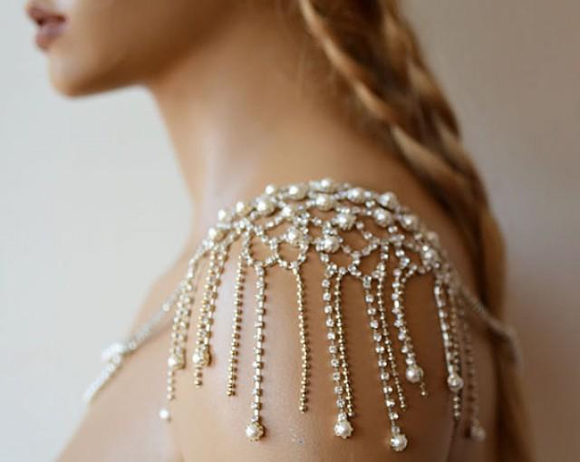 Wedding rhinestone jewelry wedding dress shoulder for Bracelet for wedding dress