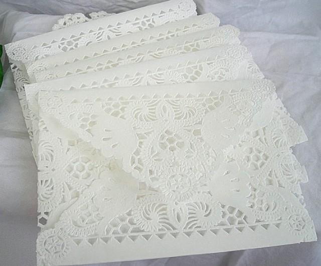 Vintage Handmade Wedding Invitations: Doily Paper Lace Envelopes