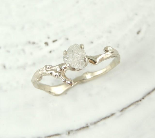 uncut diamond branch engagement ring handmade diamond