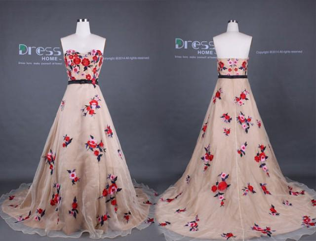 Unique 2015 Champagne Sweetheart Red Flowers Embroidery A Line Organza Wedding Dress Court Train Gown Colorful Bridal DH283 2220696