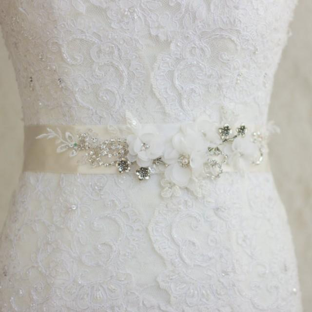 Floral bridal sash wedding dress belt sash wedding ivory for Ivory wedding dress sash