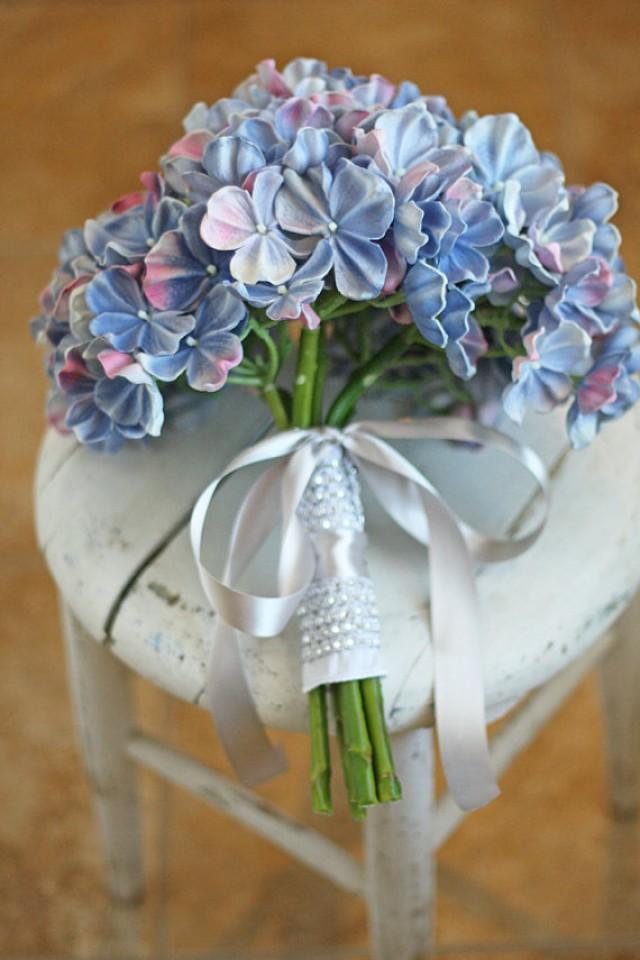 Natural Touch Periwinkle Blue Hydrangea Wedding Bouquet ...