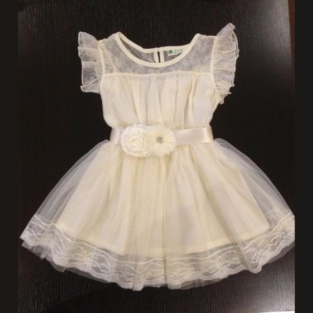 flower girl dress ivory lace dress ivory dress vintage