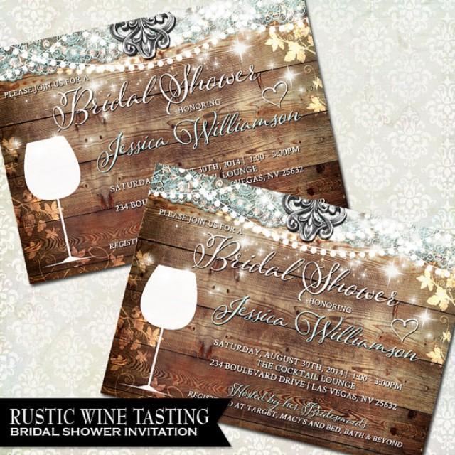 Rustic Bridal Shower Invitation Vineyard Wedding Shower Invite Wine