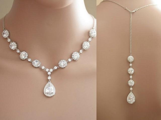 Wedding crystal backdrop necklace clear cubic zirconia for Back necklace for wedding dress