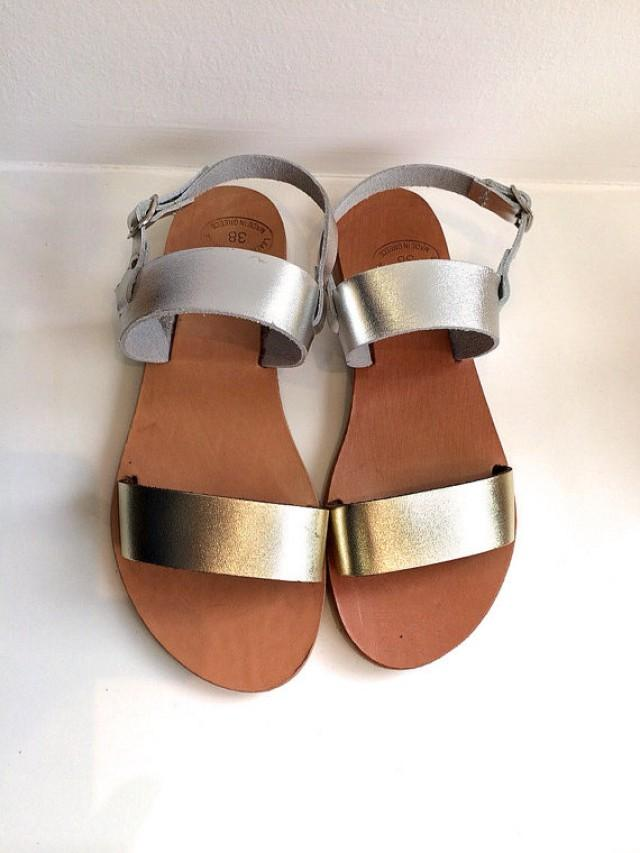 Gold And Silver Real Leather Sandals Women Flat Shoes Straps, Wedding  Sandals, Beach Shoes #2220870   Weddbook