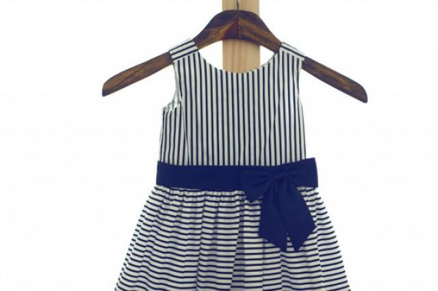 Cotton White Blue Stripes Navy Bow Flower Girl Dress