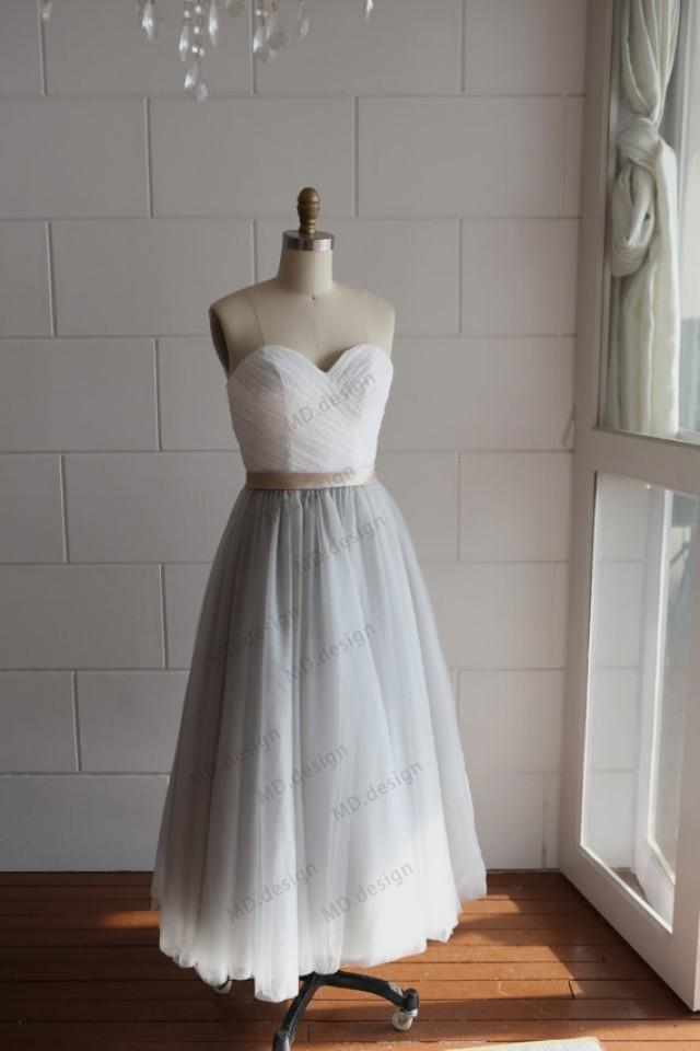 Strapless ivory lace silver grey tulle tea length short for Silver tea length wedding dresses