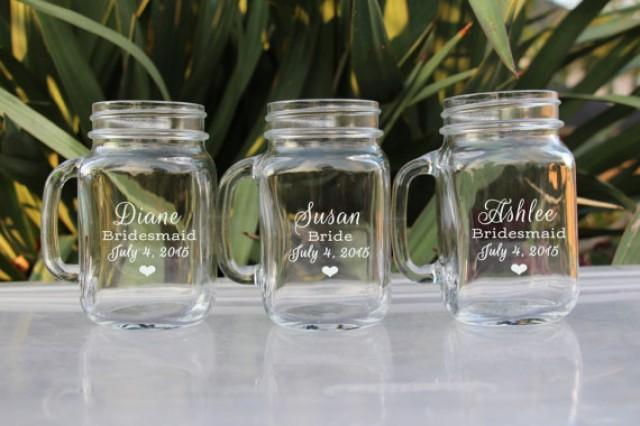 Engraved Wedding Party Gifts: ANY QUANTITY Mason Jar Wedding Glasses