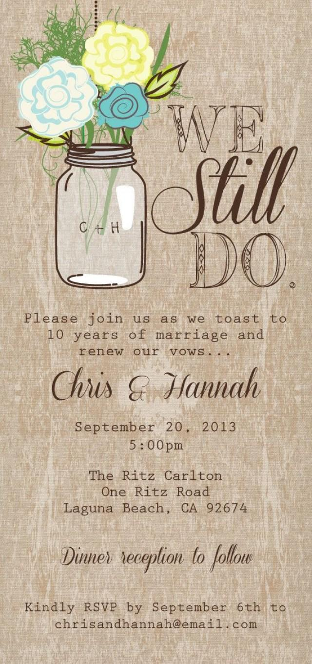 Mason Jar Printable Invitation, Rustic Wedding Invitation, We Still ...