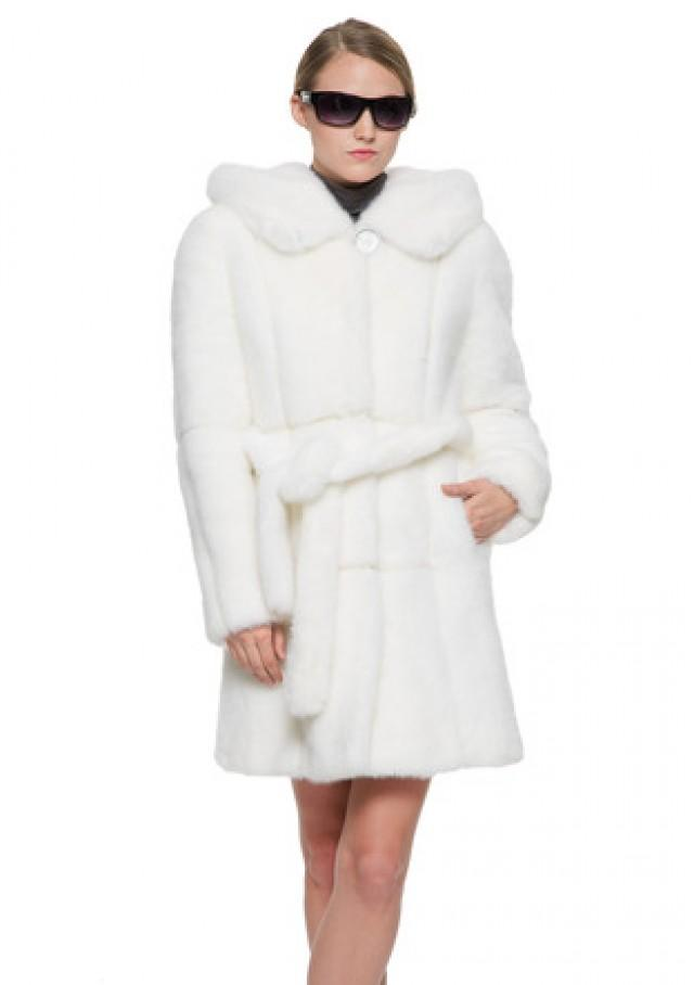wedding photo - Fiona luxury white hooded faux mink fur middle women coat