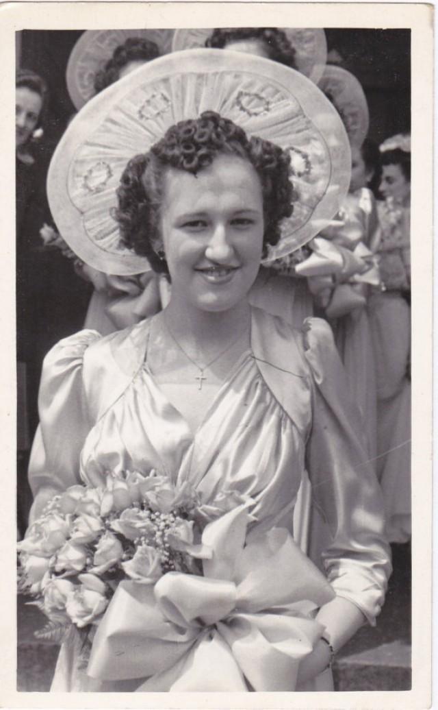 Always The Bridesmaid  Woman In Satin Dress  Rose Bouquet  Chicago,  Illinois  Wedding Candid  1940s Vintage Photograph  Snapshot #2221559    Weddbook