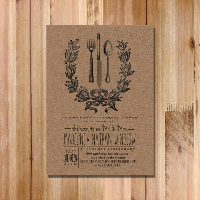 Wedding Rehearsal Dinner Invitation  Vintage Inspired Rustic