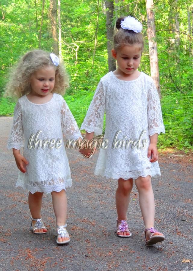 Lace flower girl dress christening baptism dress long for Country wedding flower girl dresses