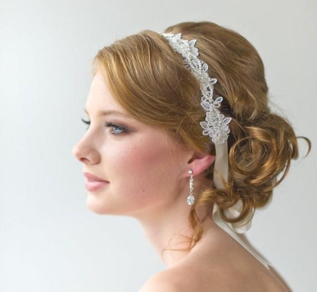 Bridal Hairstyles With A Headband : Bridal ribbon headband lace