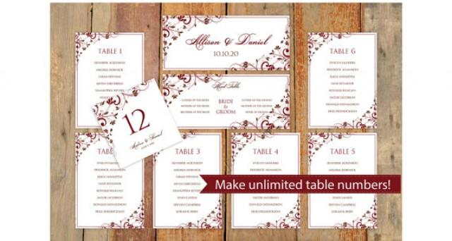 wedding seating chart template download instantly editable text chic bouquet chocolate. Black Bedroom Furniture Sets. Home Design Ideas