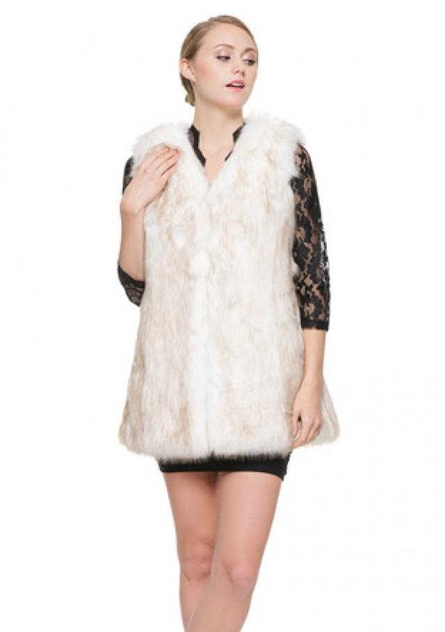 wedding photo - Opal luxury faux fox fur short women vest