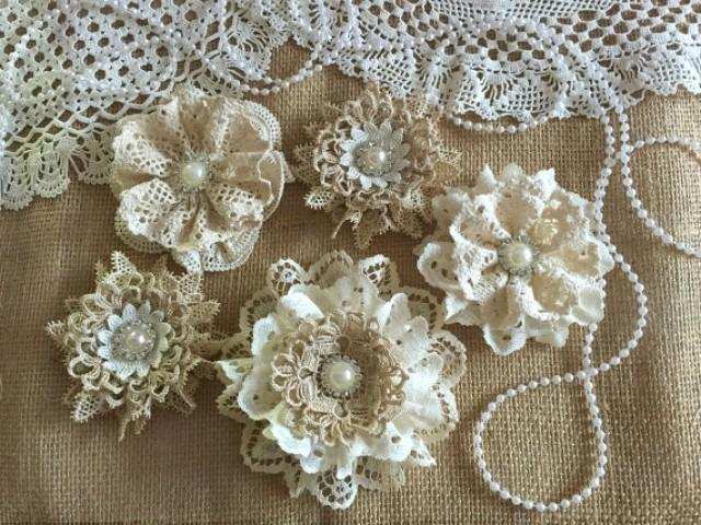 wedding photo - 5 shabby chic vintage lace handmade flowers