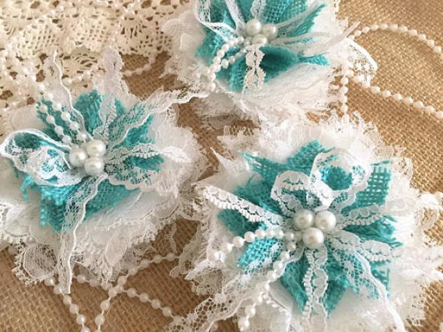wedding photo - 3 shabby chic white lace and tiffany blue burlap handmade flowers