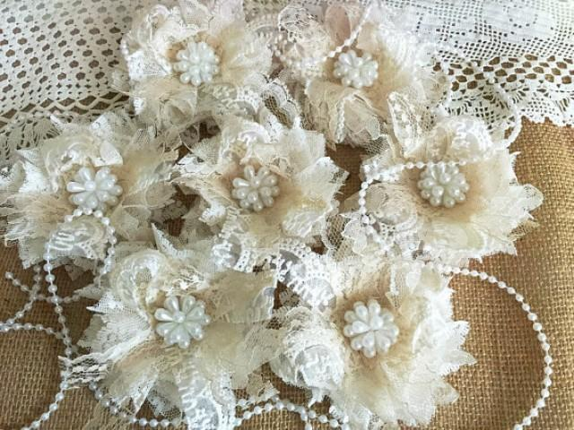 wedding photo - 7 shabby chic ivory and honey color lace handmade flowers